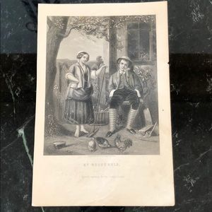 "My Household 8.5"" x 5.5"" Antique Engraving/Print"